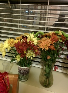 Fall is my favorite time of year. The colors of fall are  captured in these flowers I received from Peggy J. and Elaine R.