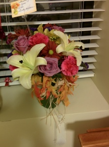 Elke and Karen P. sent me this bouquet that has my favorite flower the star gazer lily. My room smelled good for days.